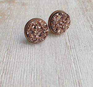 Copper on Copper Geode Stud Earrings