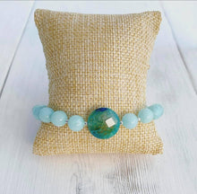 Load image into Gallery viewer, Amazonite + Sterling Silver + Quartz Bracelet