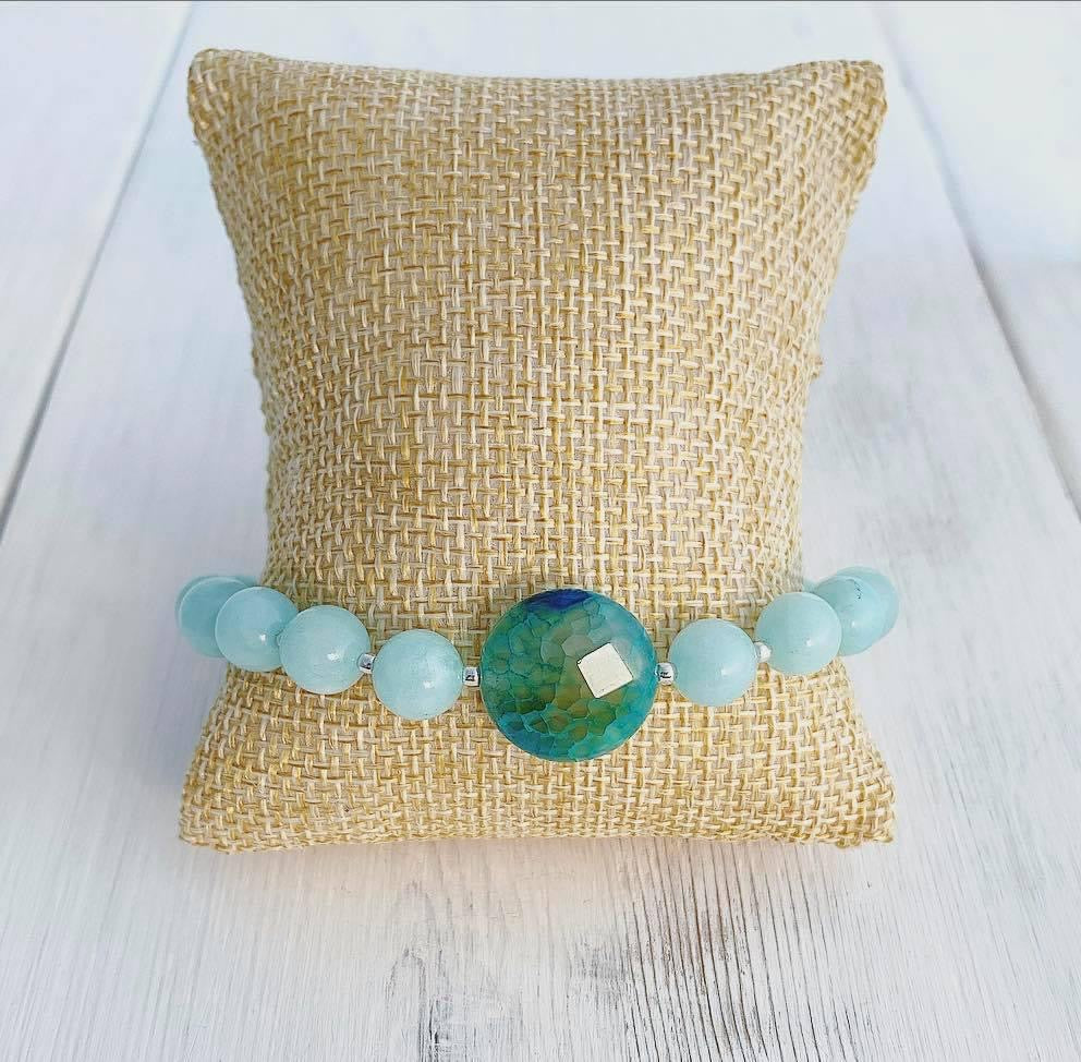 Amazonite + Sterling Silver + Quartz Bracelet