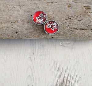 Stainless Snowflake Stud Earrings in Red