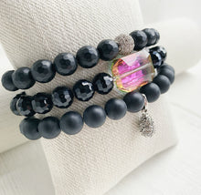 Load image into Gallery viewer, Matte Onyx + Hematite + Crystal Stacking Bracelets