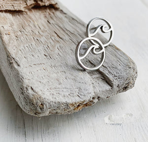 Stainless Steel Ocean Wave Stud Earrings