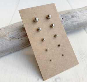 Stainless Steel Ball Stud Earrings Set of 5