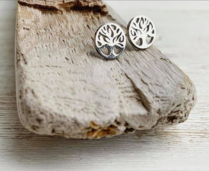 Stainless Steel Tree of Life Stud Earrings