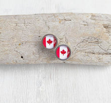 Load image into Gallery viewer, Canadian Flag Glass Cabochon Stud Earrings