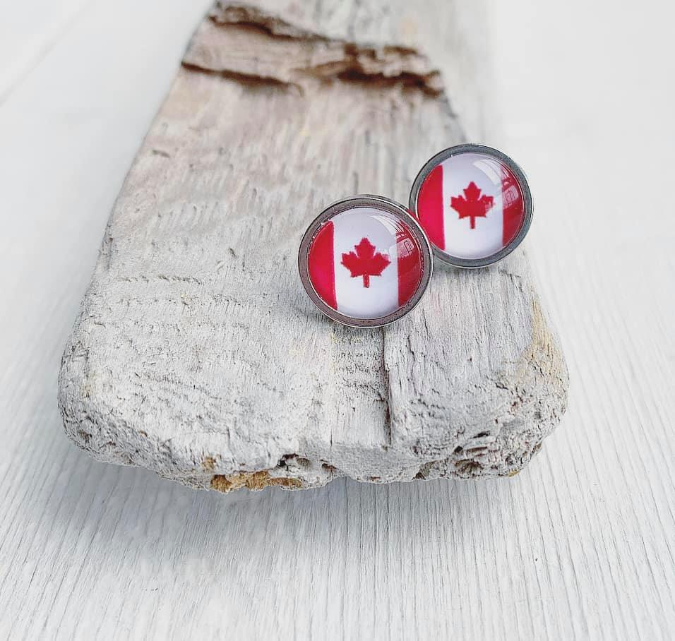 Canadian Flag Glass Cabochon Stud Earrings