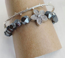 Load image into Gallery viewer, Hematite + Rhinestone Stacking Bracelets
