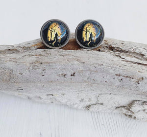 Haunted House Stainless Steel Stud Earrings