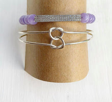 Load image into Gallery viewer, Lilac Quartz + Double Love Knot Stacking Bracelets