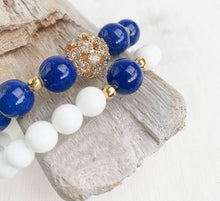 Load image into Gallery viewer, Lapis Lazuli + White Jade Stacking Bracelets