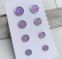 Load image into Gallery viewer, Lavender Sparkle Geode Earrings Set of 4