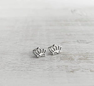 Stainless Steel Lotus Flower Stud Earrings
