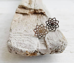 Stainless Steel Mandala Stud Earrings