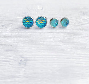 Geode + Mermaid Collection Stud Earrings Set of 4