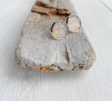 Load image into Gallery viewer, Blush Pink Sparkle Geode Stud Earrings