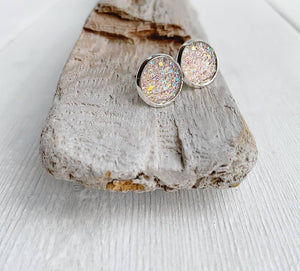 Blush Pink Sparkle Geode Stud Earrings