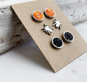 Set of 3 Halloween Stainless Steel Stud Earrings Spiders