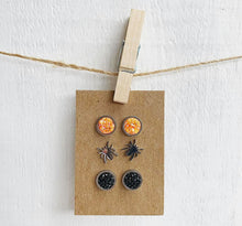 Load image into Gallery viewer, Set of 3 Halloween Stainless Steel Stud Earrings Spiders