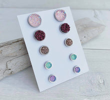 Load image into Gallery viewer, Fall Collection Geode Stud Earrings Set of 5