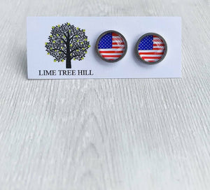 American Flag Glass Cabochon Stud Earrings