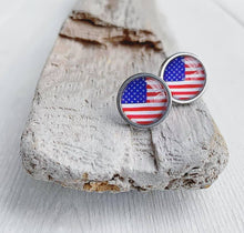 Load image into Gallery viewer, American Flag Glass Cabochon Stud Earrings