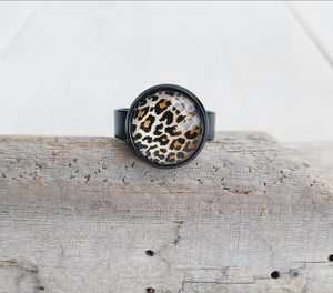 Leopard Print Glass Cabochon Ring