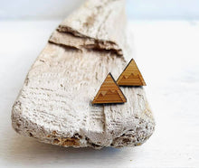 Load image into Gallery viewer, Wooden Mountain Stud Earrings