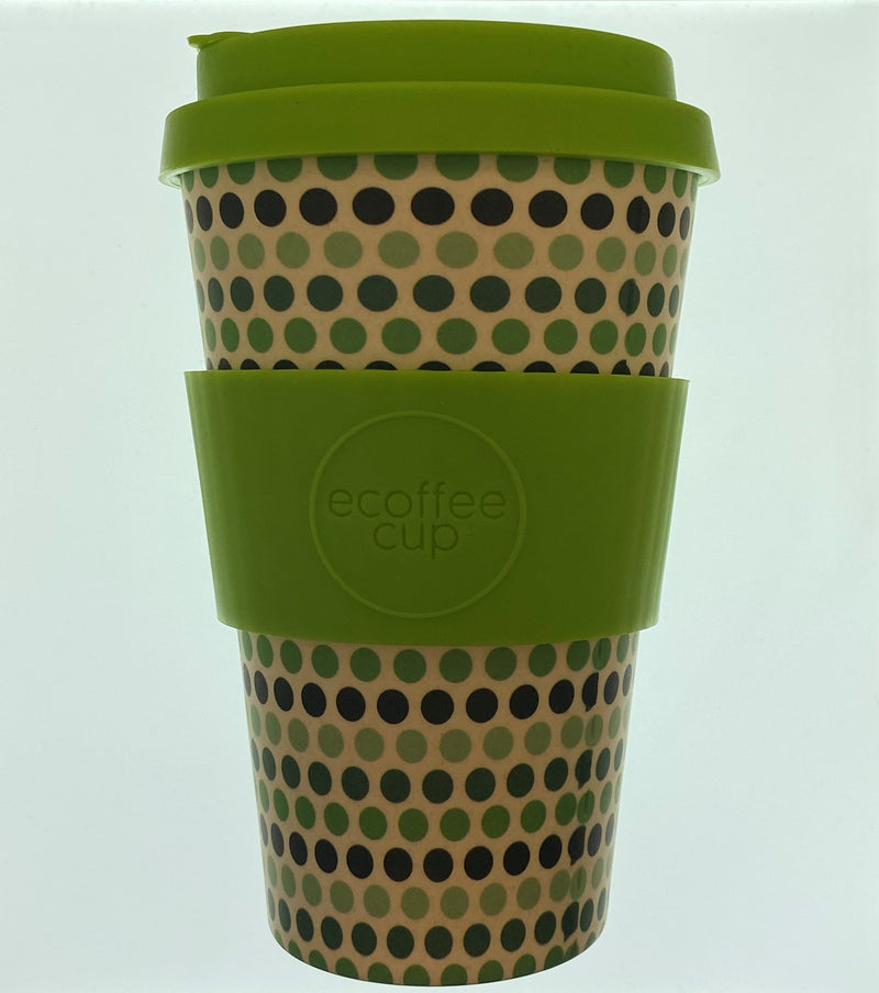 Ecoffee Coffee Cup - Green Polka - 400ml