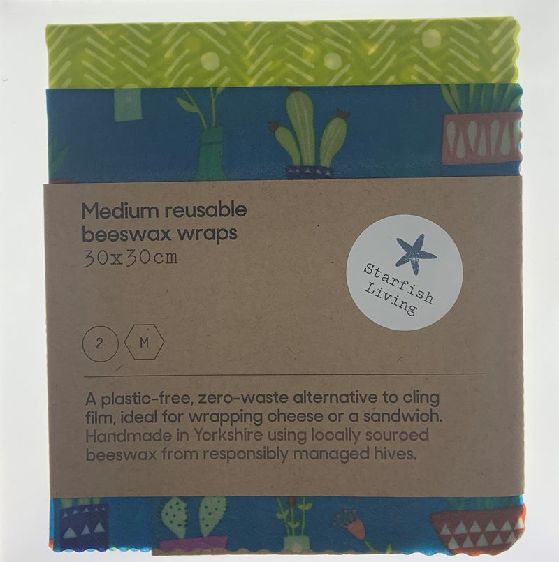 Starfish Living Beeswax Wraps Medium x 2