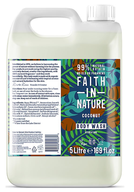 5L - Faith in Nature Body Wash - Coconut