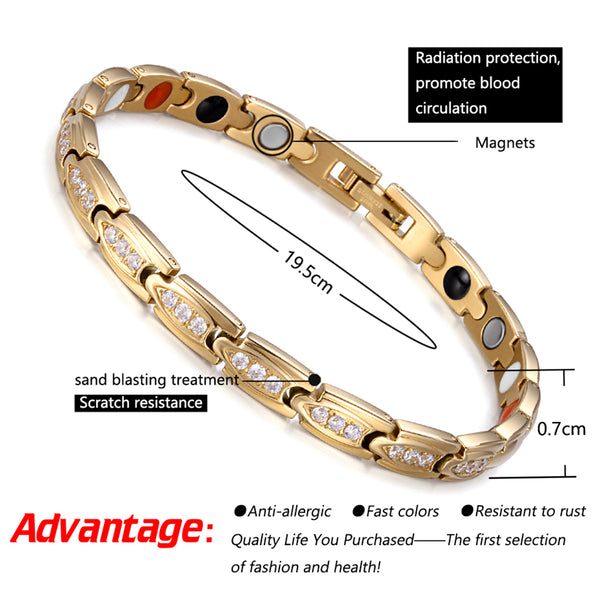 Stainless Steel Magnetic Bracelets for Women , Gold , OSB-2258GFIR