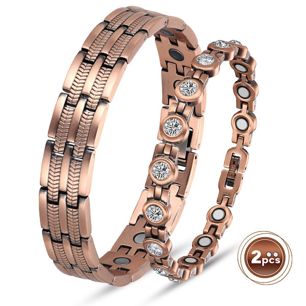 Valentine's Day Gifts - Couple Copper Magnetic Bracelets , Copper
