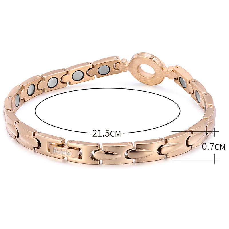 Stainless Steel Womens Magnetic Bracelet , Silver/Rose Gold , OSB-2202