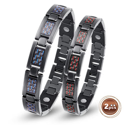 Valentine's Day Gifts - Couple Titanium Magnetic Bracelets , Blue&Red