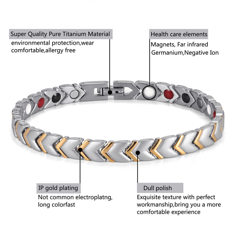 Titanium Woman's Powerful Magnetic Bracelet , Silver Gold , OTB-034SGFIR