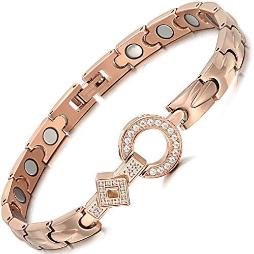 Womens Stainless Steel Magnetic Therapy Bracelets Pain Relief for Arthritis with Rhinestone