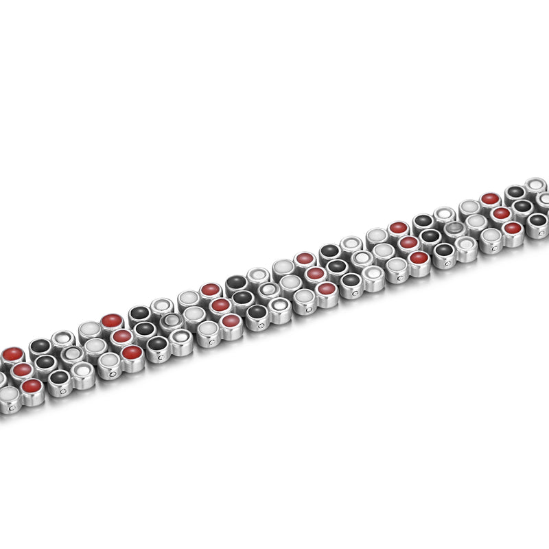 Stainless Steel Magnetic Therapy Bracelet , Silver Gold , OSB-2254SGFIR