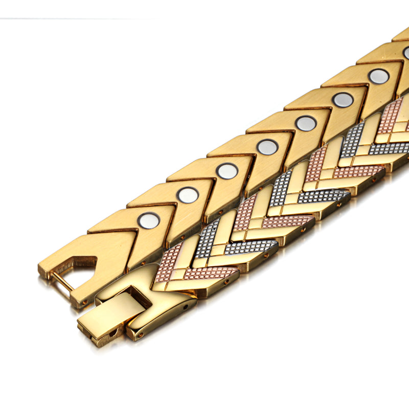 Stainless Steel Magnetic Bracelets for Pain , Gold , OSB-184