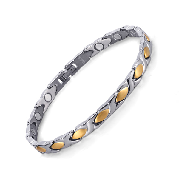 Womens Powerful Titanium Magnetic Bracelet , Silver Gold , OTB-016GS