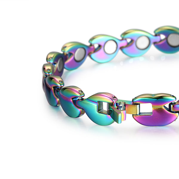 Stainless Steel Women Magnetic Bracelet Benefits , Mix Color , OSB-081CR
