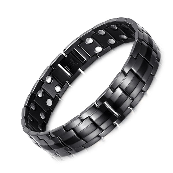 Men's Powerful Stainless Steel Magnetic Bracelet , Black , OSB-1537BK