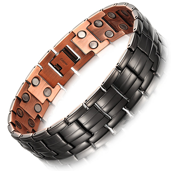 "Mens Copper Bracelets 8.5"" Link Adjustable Black Pure Copper with Double Raw 3500Gauss Magnets Pain Relief(Bright black)"