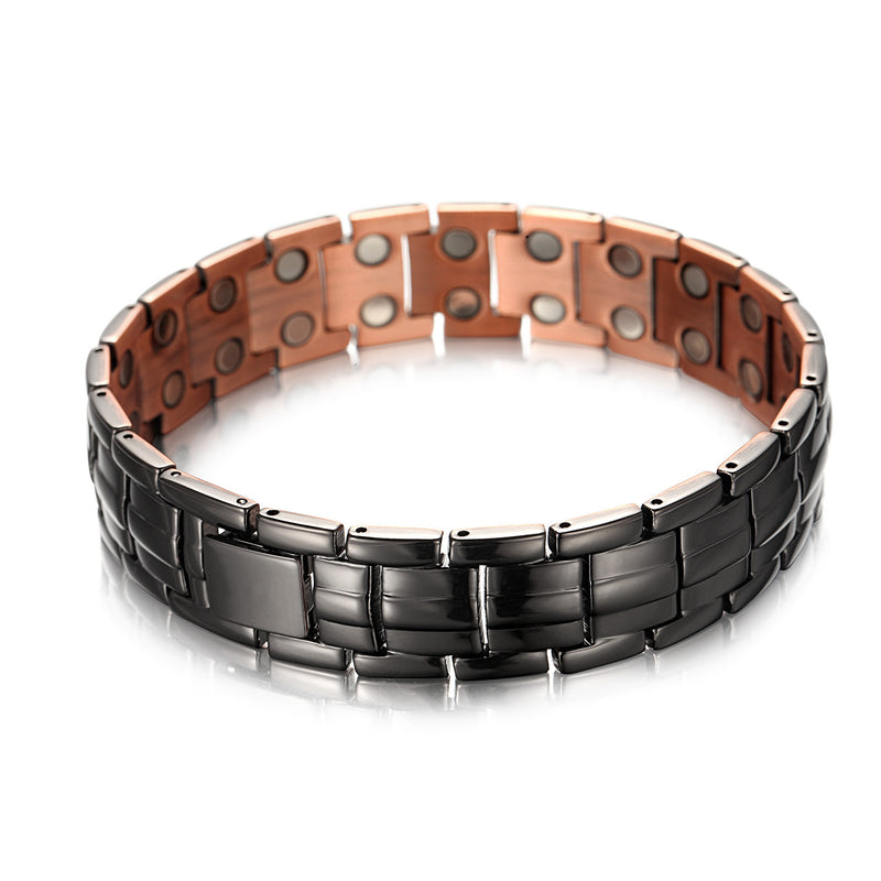"Mens Copper Bracelets 8.5"" Link Adjustable Black Pure Copper with Double Raw 3500Gauss Magnets Pain Relief(Business black)"