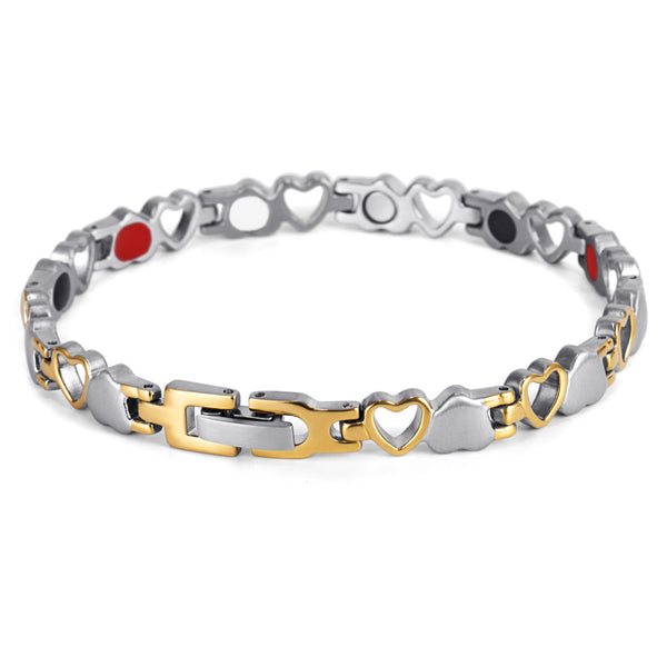 Stainless Steel  Magnetic Bracelet for Women , Silver Gold , OSB-082SGFIR