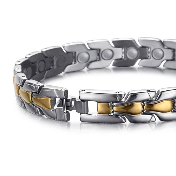 Stainless Steel Magnetic Bracelets For Pain , Silver Gold , OSB-900SG