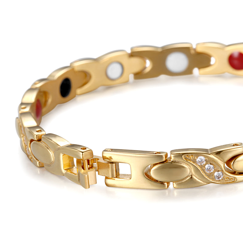 Stainless Steel Powerful Magnetic Bracelet , Gold , OSB-2256GFIR