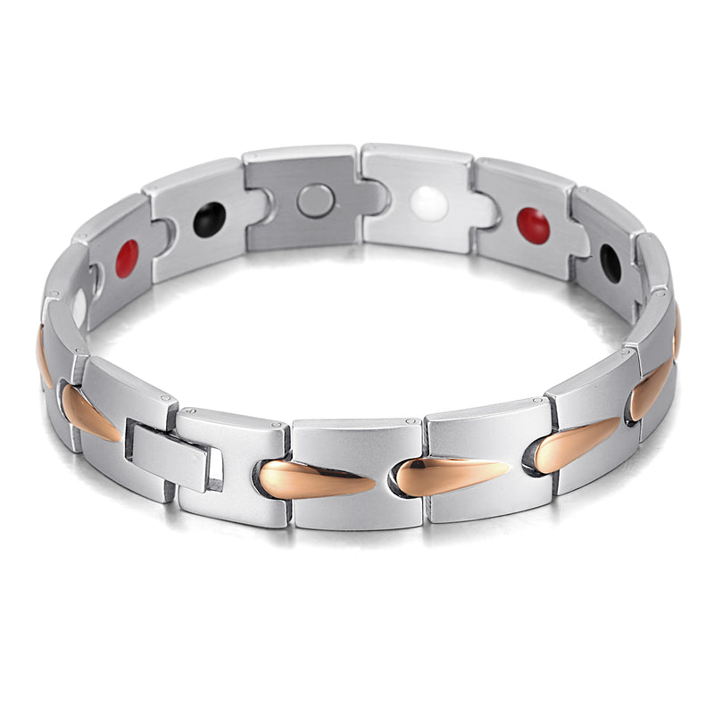 Powerful Stainless Steel Magnetic Bracelets , Silver Gold , OSB-1536SGFIR
