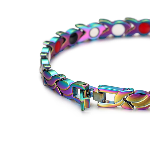 Stainless Steel Women Magnetic Bracelets Benefits , Mix Color , OSB-1551CRFIR