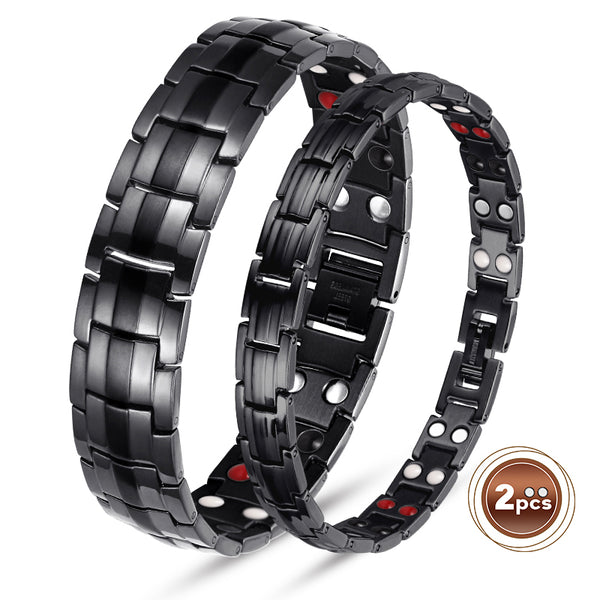 Valentine's Day Gifts - Couple Titanium Magnetic Bracelets , Black