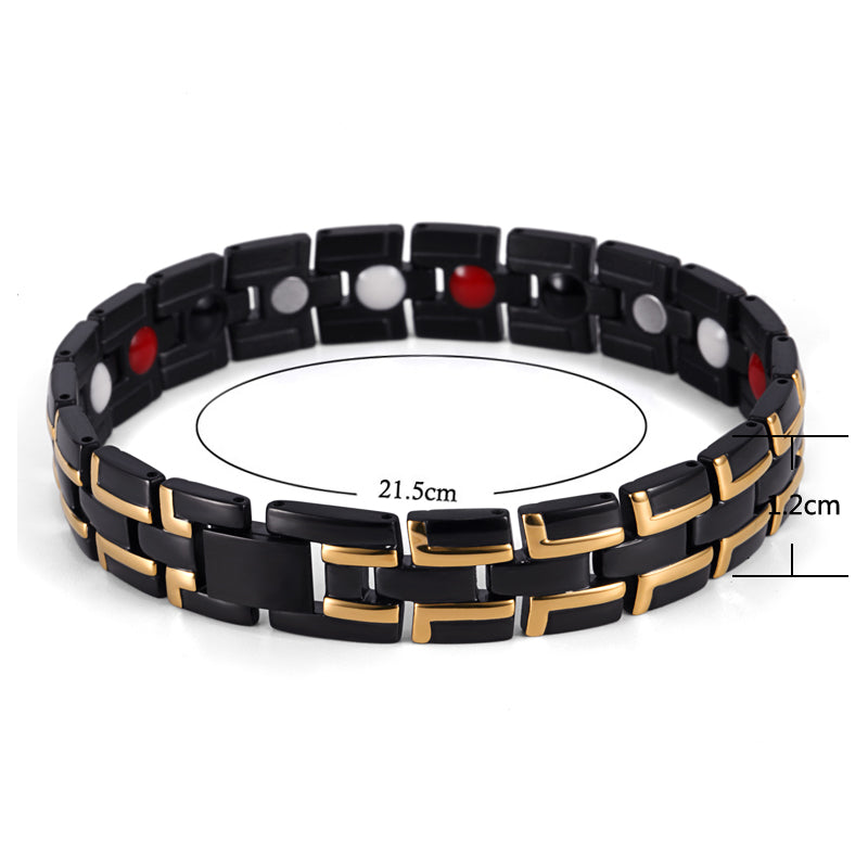 Stainless Steel Pain Magnetic Bracelets , Black Gold , OSB-086-01BGFIR